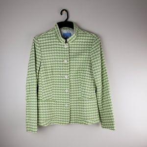 J McLaughlin Green White Tweed Knit Jacket Size 8
